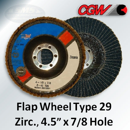 Flap Wheel, Zirconium, Type 29, 4.5