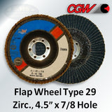 "Flap Wheel, Type 29, Zirconium, 4.5"" x 7/8"" Arbor"