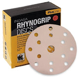 "Indasa PlusLine Rhynogrip 6"" 15-Hole Vacuum Sanding Disc Collection, 1065 Series"