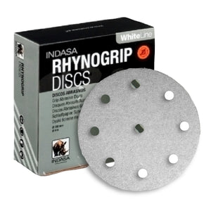 "Indasa 5"" 9-Hole WhiteLine Rhynogrip Vacuum Sanding Discs for Festool, 59 Series"