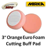 "Mirka 3"" Orange Euro Foam Cutting Buff Pad, 6-Pack"