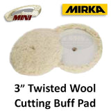 "Mirka 3"" Twisted Wool Cutting Buff Pad, 6-Pack, MPADTW-3"