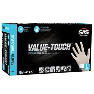 SAS Safety VALUE-TOUCH Latex Lightly Powdered Gloves