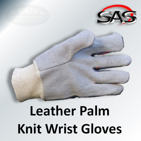 Leather Palm Knit Wrist Work Gloves