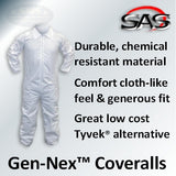SAS Gen-Nex Painter's Coveralls, XL, 6854