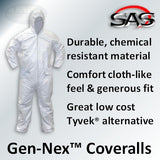 SAS Gen-Nex Hooded Coveralls, Large, 6893