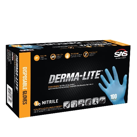 SAS Safety DERMA-LITE 5 mil Lightly-Powdered Nitrile Gloves