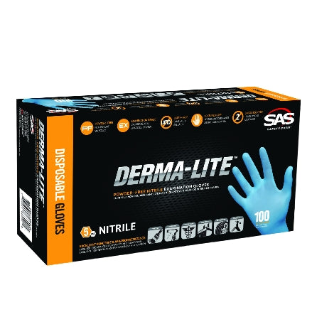 SAS Safety DERMA-LITE 5 mil Nitrile Powder-Free Gloves