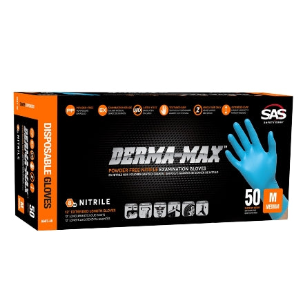 SAS Safety DERMA-MAX 8 mil Powder-Free Nitrile Gloves