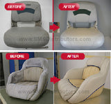SEM Marine Vinyl Coat cushions before and after, 2
