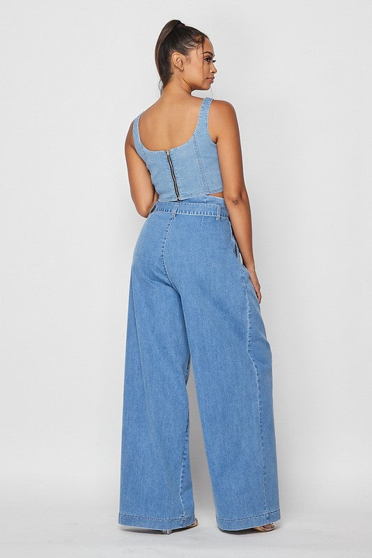 Denim High Wasted Trouser Pants