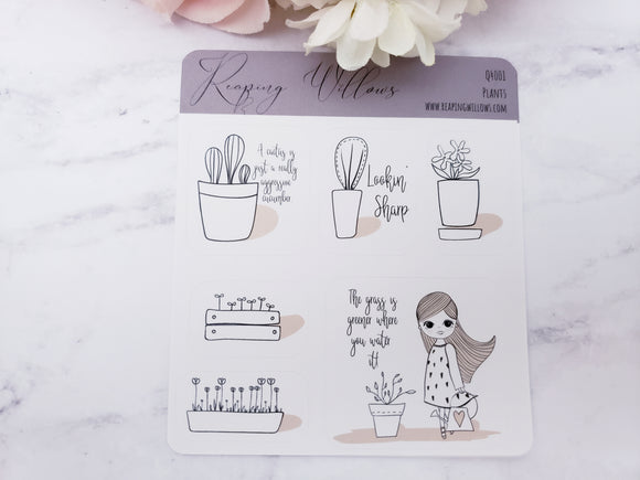 Quarter Sheet Planner Stickers - Plants