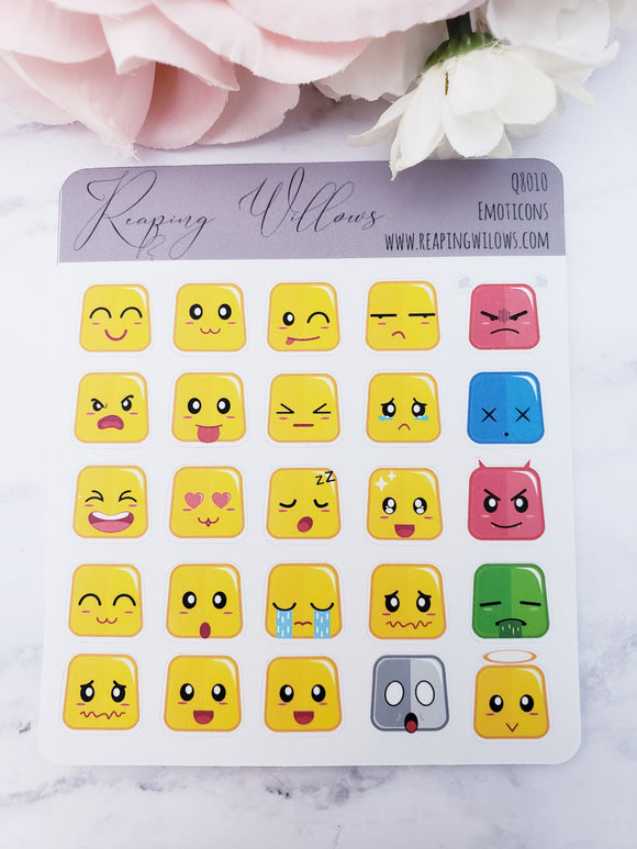 Quarter Sheet Planner Stickers - Emoticons