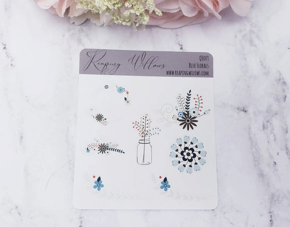 Quarter Sheet Planner Stickers - Blue Florals
