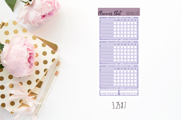 Functional Planner Stickers - Double Box Trackers - Purple