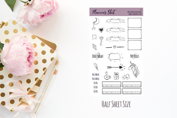 Half Sheet Planner Stickers - Misc Neutral Functional