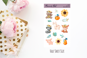 Half Sheet Planner Stickers - Fall Critters
