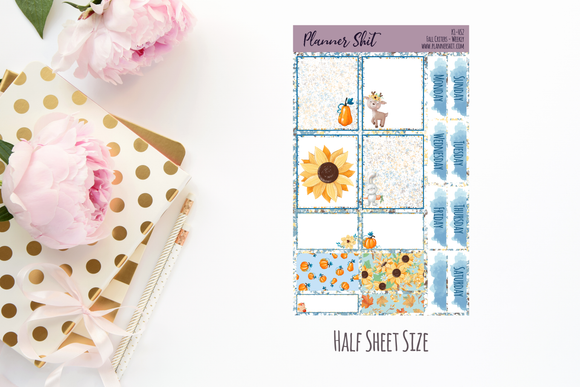 Half Sheet Planner Stickers - Fall Critters Weekly