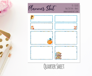 Quarter Sheet Planner Stickers - Fall Critters Boxes