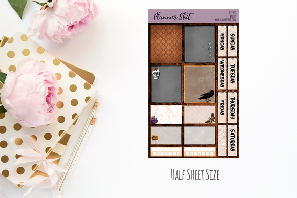 Half Sheet Planner Stickers - Gothic Elegance Weekly