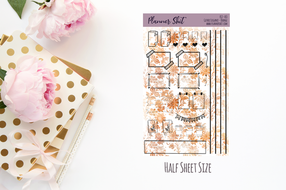 Half Sheet Planner Stickers - Gothic Elegance (Orange)