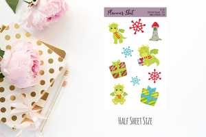 Half Sheet Planner Stickers - Christmas Dragons - Deco
