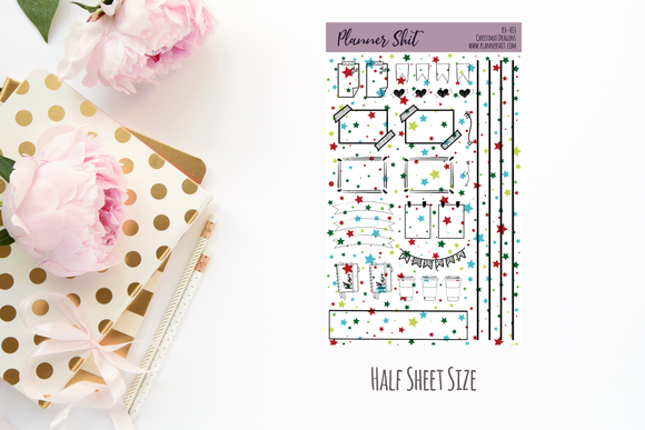 Half Sheet Planner Stickers - Christmas Dragons - Functional