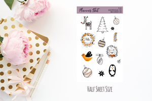 Half Sheet Planner Stickers - Holiday Winterland - Deco
