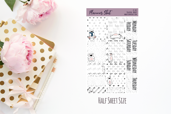 Half Sheet Planner Stickers - Polar Fun - Weekly