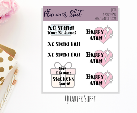 Quarter Sheet Planner Stickers - No Spend Fail