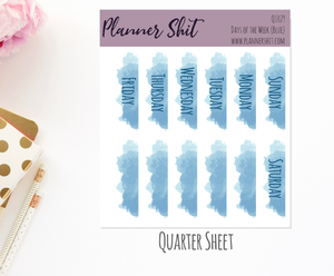 Quarter Sheet Planner Stickers - Days of the Week (Blue)