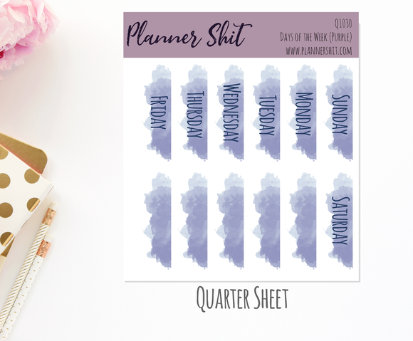 Quarter Sheet Planner Stickers - Days of the Week (Purple)