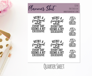 Quarter Sheet Planner Stickers - A Bit Excessive