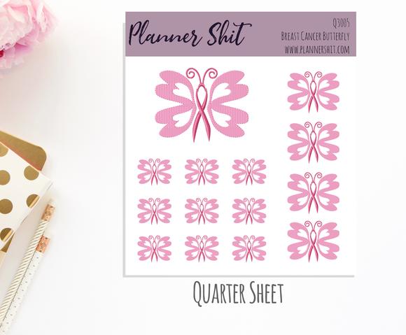 Quarter Sheet Planner Stickers - Breast Cancer Butterfly
