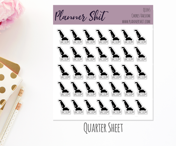 Quarter Sheet Planner Stickers - Chores - Vacuum