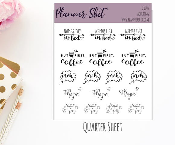 Quarter Sheet Planner Stickers - Adulting