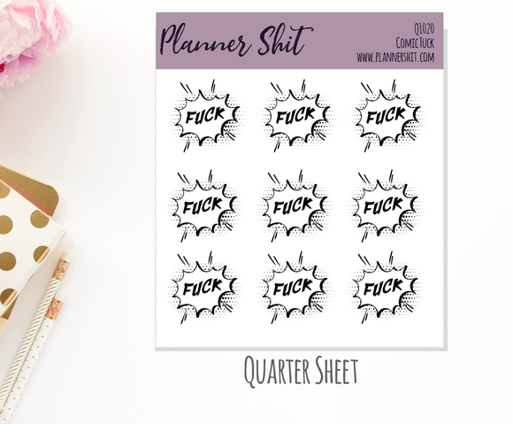 Quarter Sheet Planner Stickers - Comic Fuck