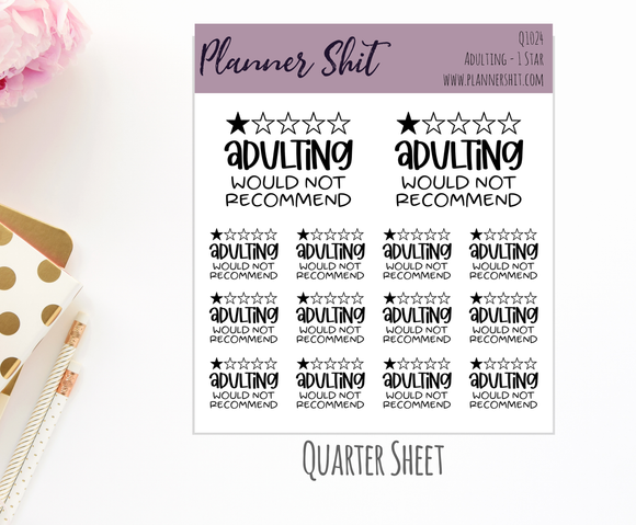 Quarter Sheet Planner Stickers - Adulting 1 Star