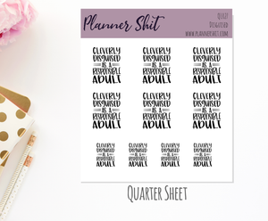 Quarter Sheet Planner Stickers - Disguised