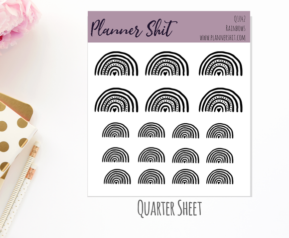 Quarter Sheet Planner Stickers - Rainbows