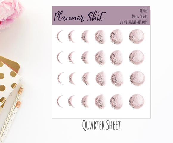 Quarter Sheet Planner Stickers - Moon Phases