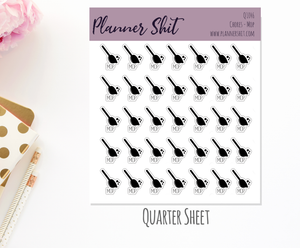 Quarter Sheet Planner Stickers - Chores - Mop