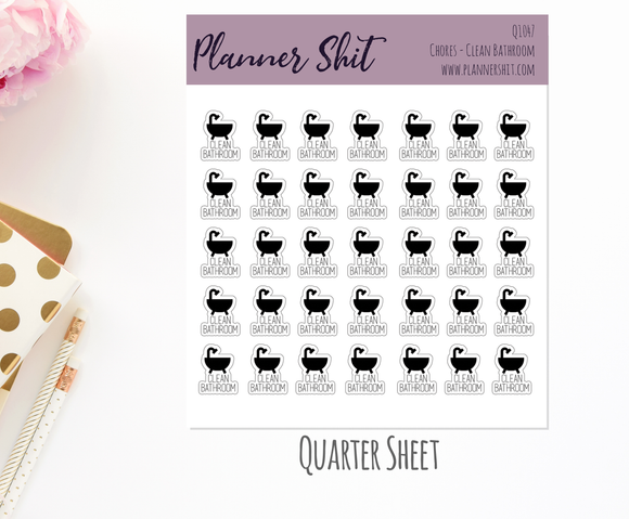 Quarter Sheet Planner Stickers - Chores - Clean Bathroom