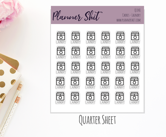 Quarter Sheet Planner Stickers - Chores - Laundry