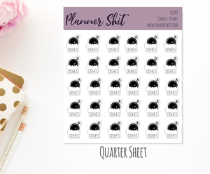 Quarter Sheet Planner Stickers - Chores - Dishes