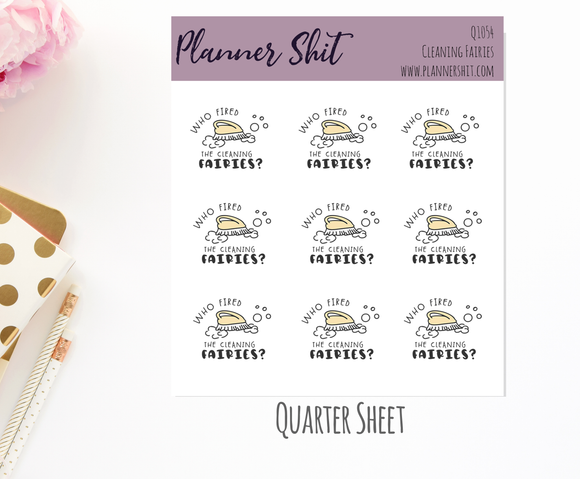 Quarter Sheet Planner Stickers - Cleaning Fairies