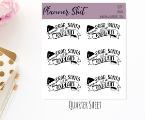 Quarter Sheet Planner Stickers - Santa
