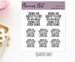 Quarter Sheet Planner Stickers - Being an Adult