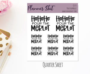 Quarter Sheet Planner Stickers - Pour The Merlot