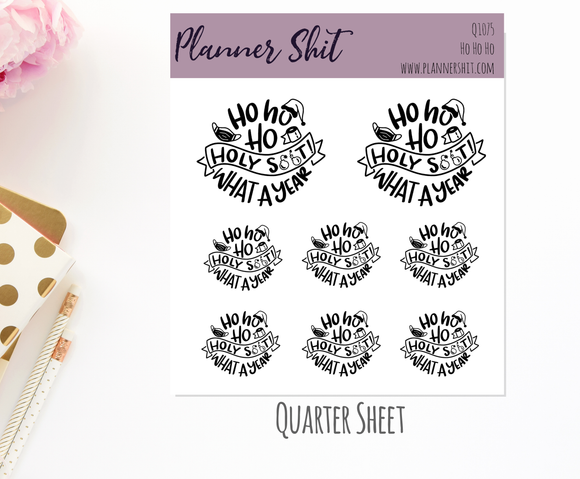 Quarter Sheet Planner Stickers - Ho Ho Ho